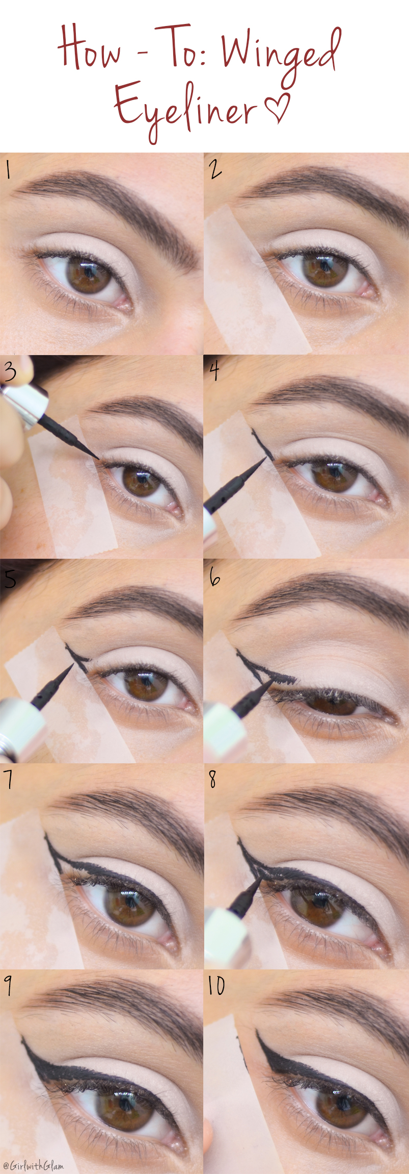 Girl with glam how to winged eyeliner tape method girl with glam have you always wanted that perfect winged liner but you can never get that straight line well let me give you this simple tip use tape baditri Image collections