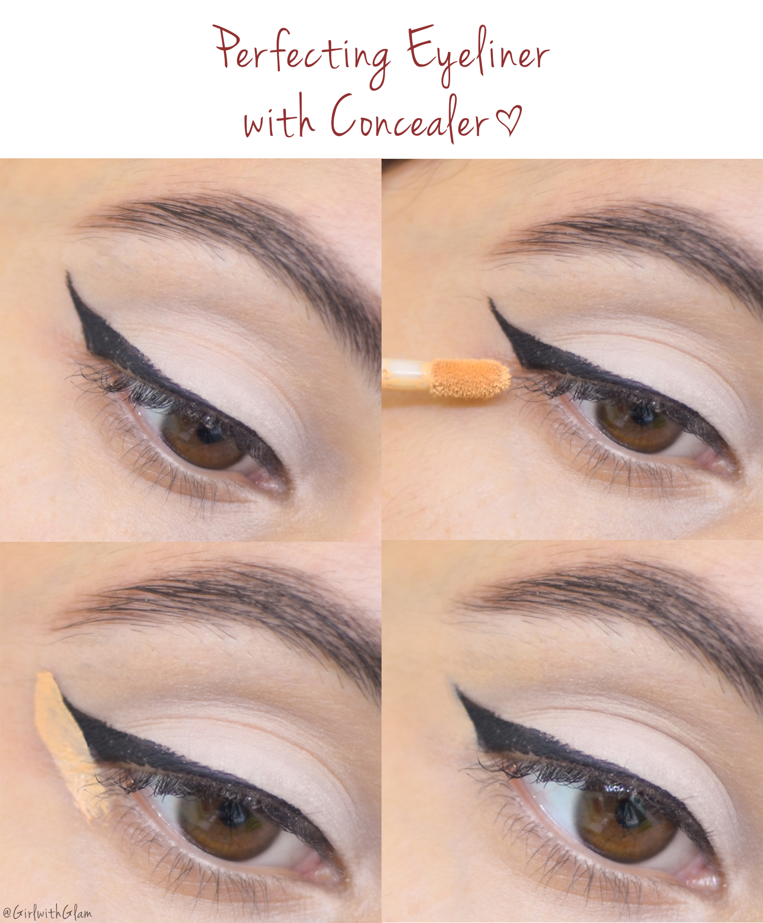 Girl with glam how to perfecting winged liner two methods the two methods that ill be focusing on in this post are perfecting eyeliner with concealer and makeup remover both methods work in a similar manner with baditri Image collections