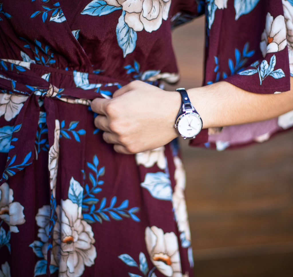burgundy floral romper and watch