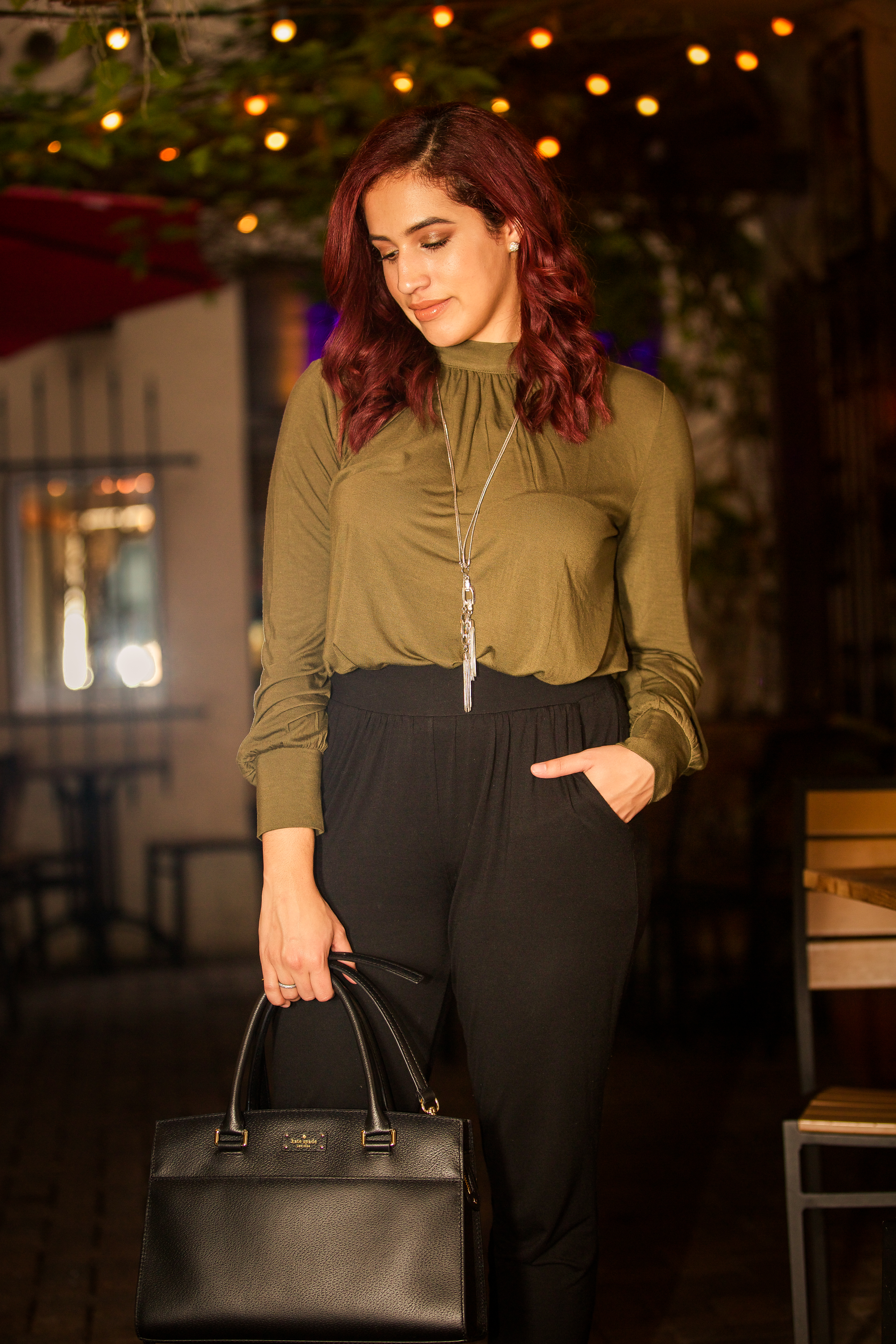green mock neck top black pull on pants